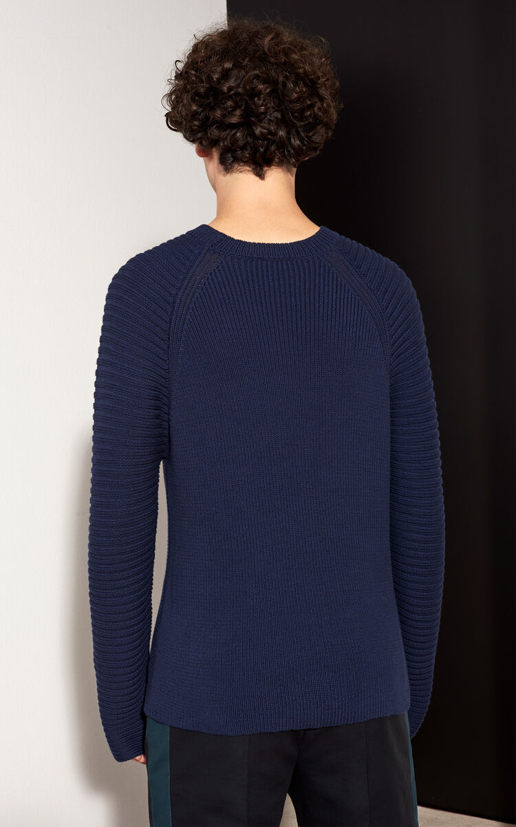 MIDNIGHT BLUE Horizontal Ribbed sweater for men KENZO