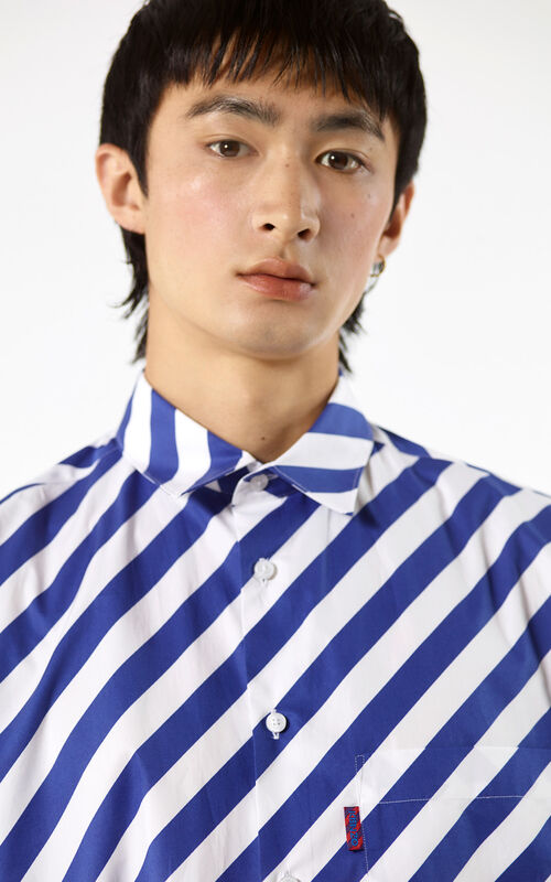 DEEP SEA BLUE Diagonal striped shirt for women KENZO