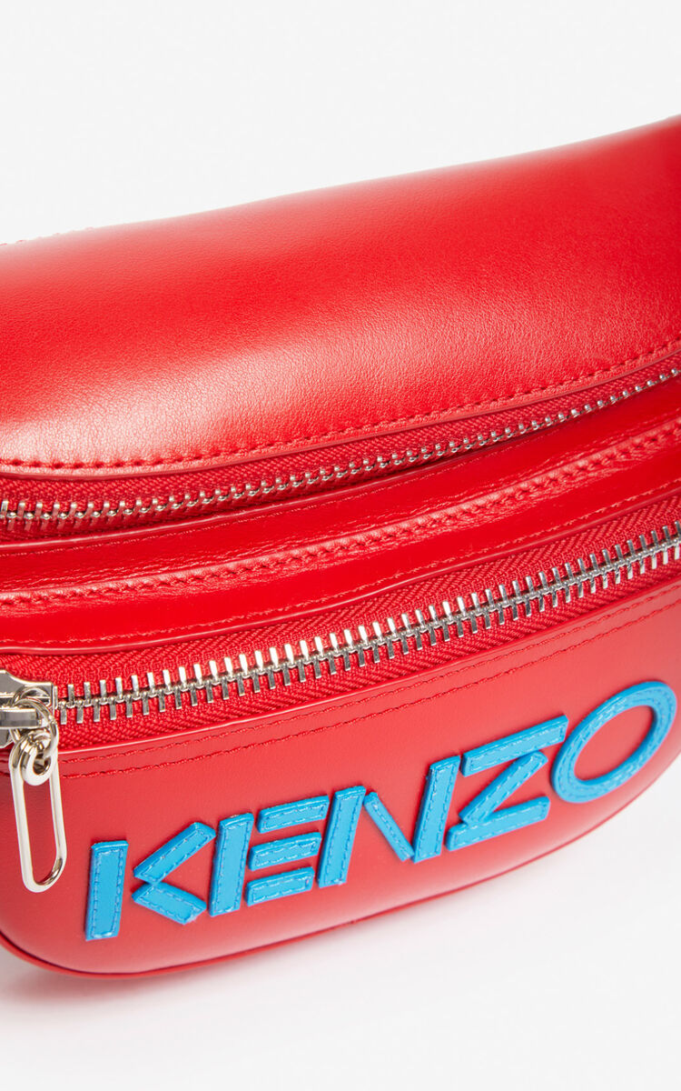 MEDIUM RED KENZO logo leather bumbag for unisex