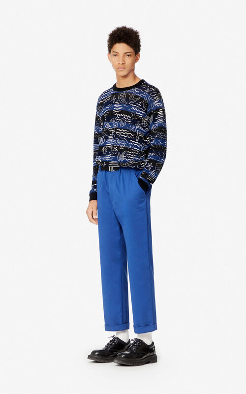 NAVY BLUE Belted straight-cut trousers for men KENZO