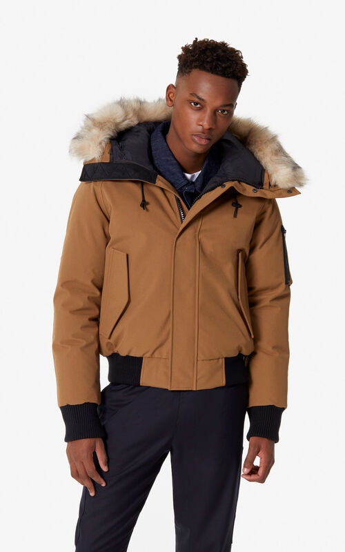 9b8b9e37ceae DARK CAMEL Puffa down jacket for men KENZO ...