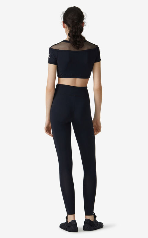 BLACK KENZO Sport 'Little X' crop top for women