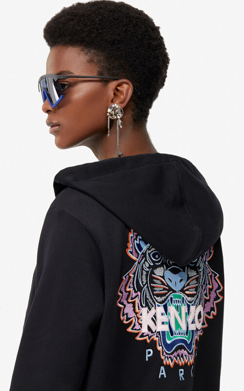 BLACK Zipped Tiger Head sweatshirt for women KENZO