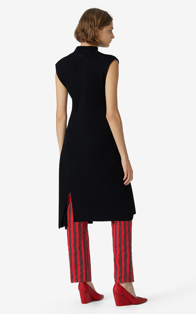 BLACK Asymmetric jumper dress for women KENZO