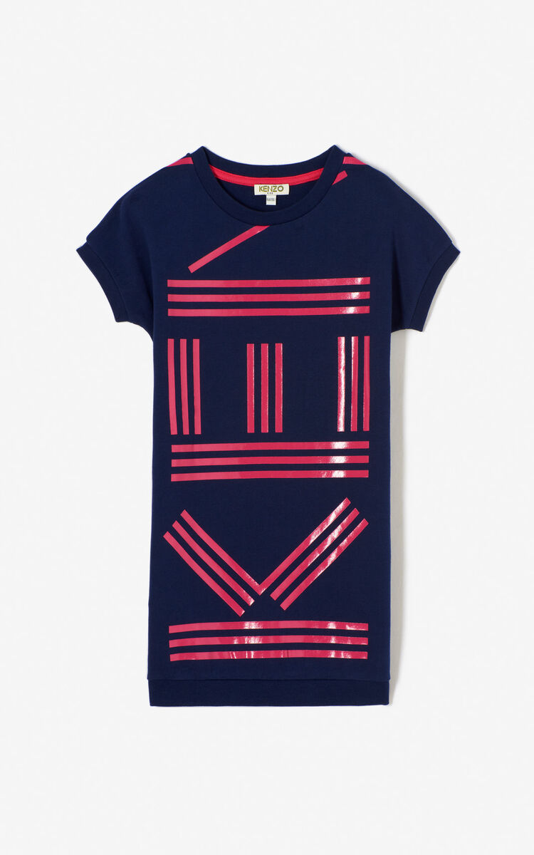 NAVY BLUE KENZO Logo sweatshirt dress for men