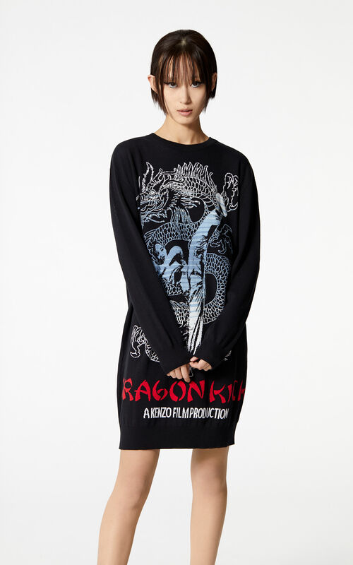 BLACK 'Dragon Kick' jumper dress for women KENZO