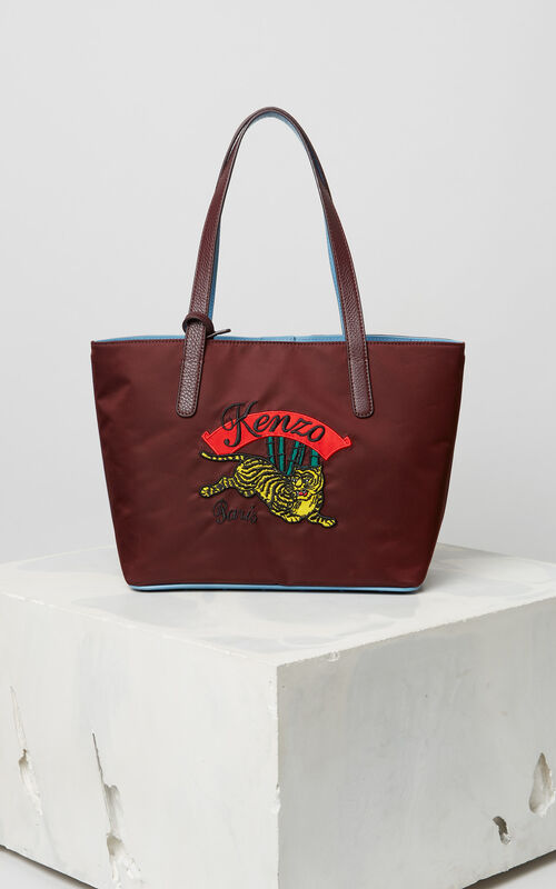 PRUNE Canvas tote with 'Jumping Tiger' embroidery for unisex KENZO