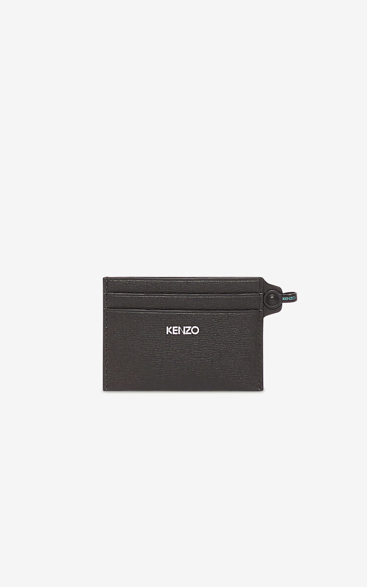 BLACK KENZO logo card holder for unisex