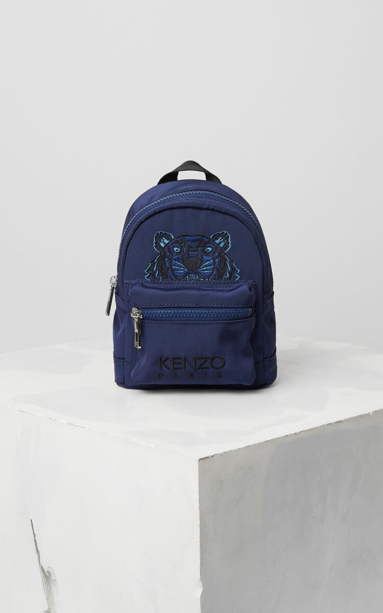 NAVY BLUE Mini Tiger Canvas Backpack for unisex KENZO