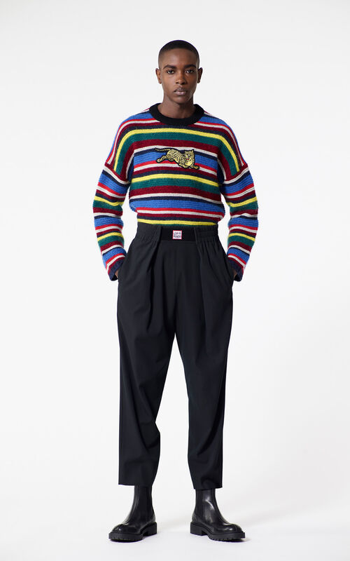 MULTICOLOR 'Jumping Tiger' striped jumper for men KENZO