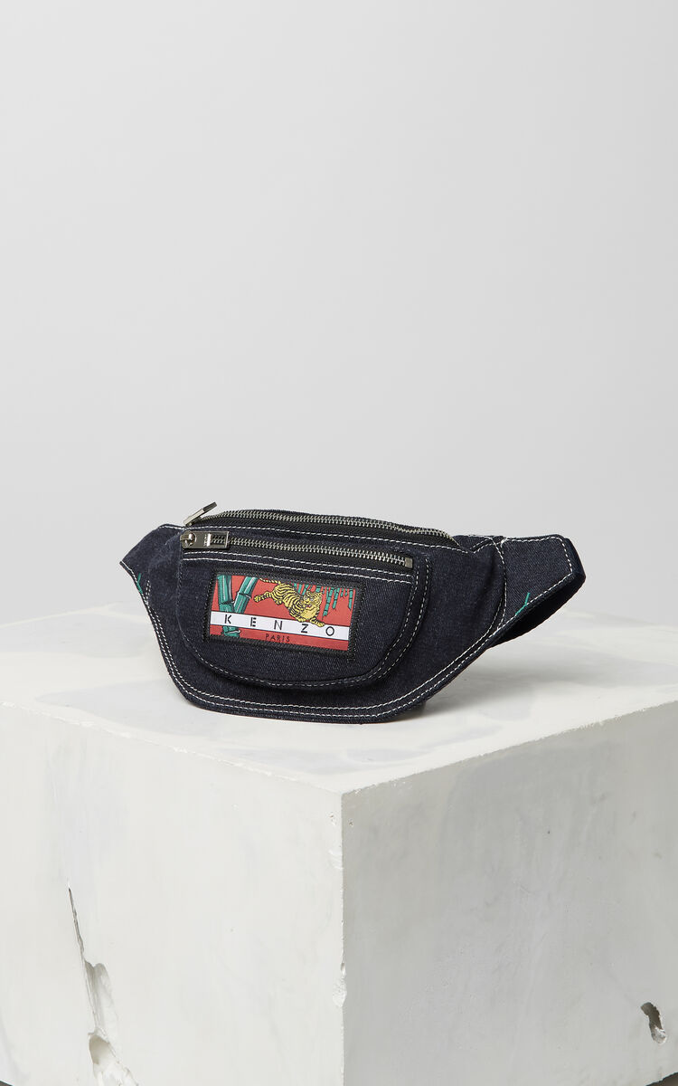 NAVY BLUE Denim 'Bamboo Tiger' bumbag for women KENZO