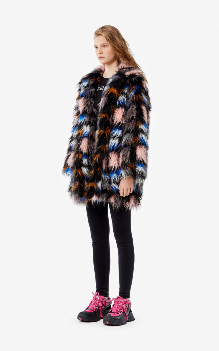 FLAMINGO PINK Faux fur coat for women KENZO