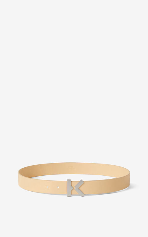 NUDE KENZO K wide leather belt for unisex
