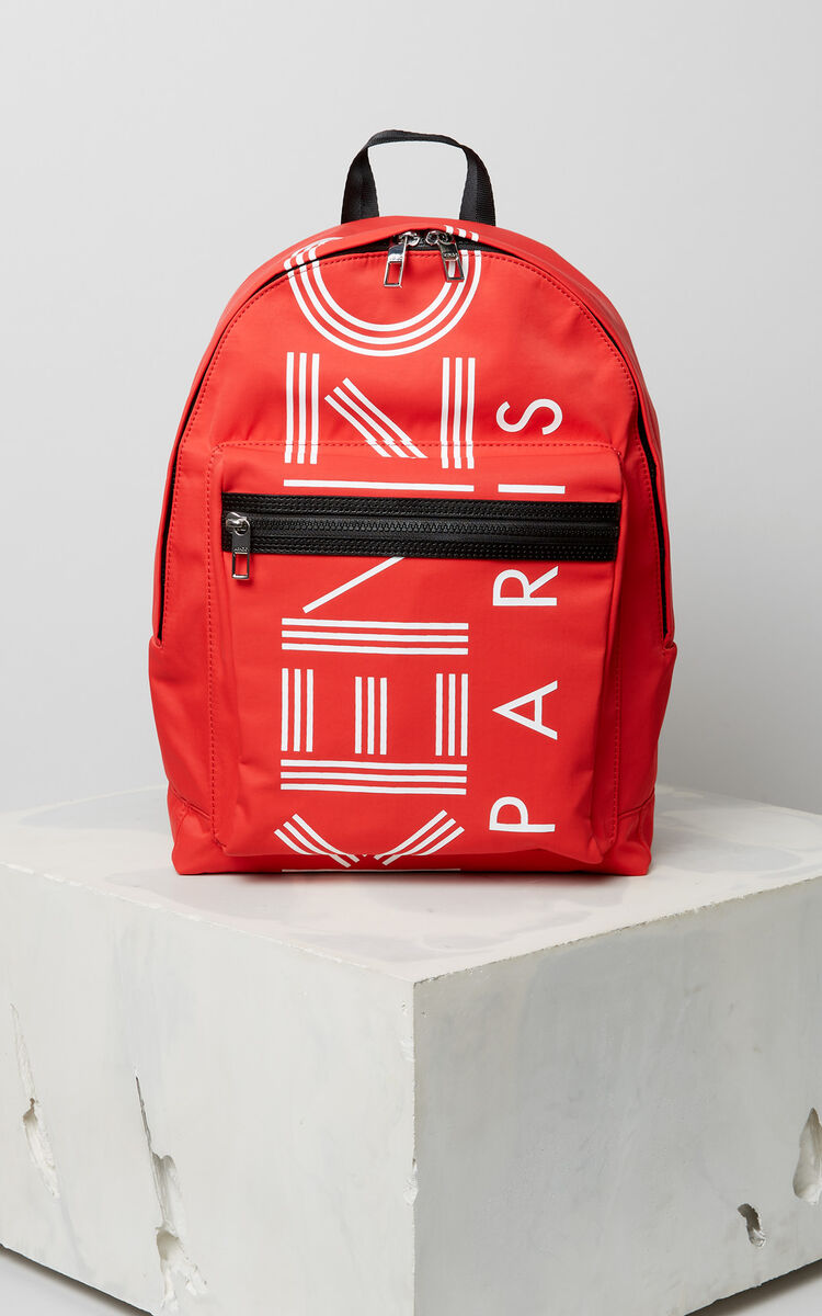 MEDIUM RED Large KENZO Logo backpack for men