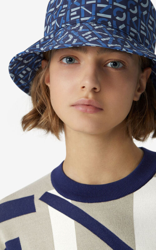 MIDNIGHT BLUE KENZO Sport monogrammed bucket hat for men