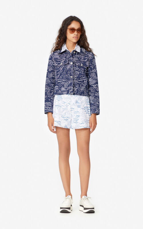DUCK BLUE 'Wave Mermaid' denim jacket for women KENZO