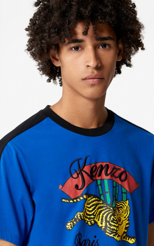 FRENCH BLUE 'Bamboo Tiger' T-shirt for men KENZO