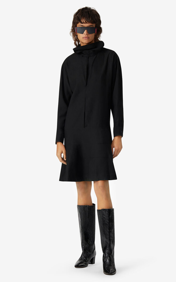 BLACK Tunic dress with cowl neck for women KENZO