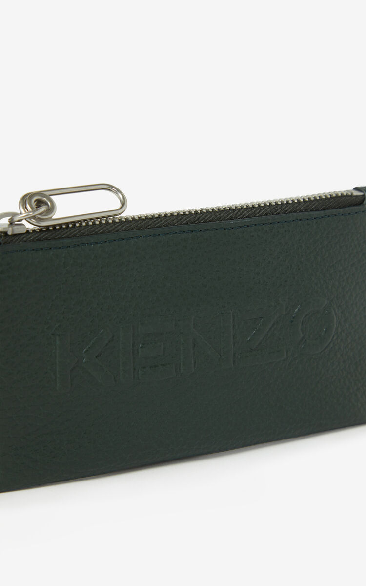 FERN KENZO Imprint zipped grained leather cardholder for unisex