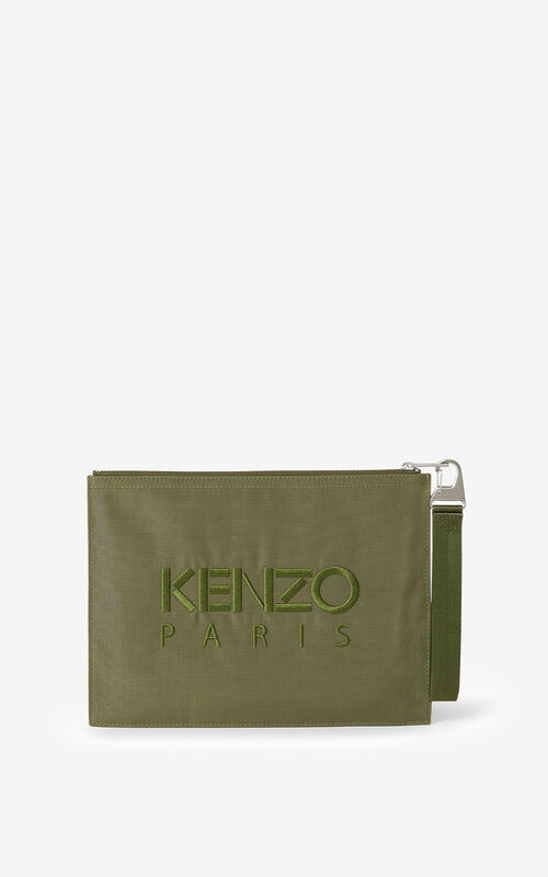 KHAKI Large canvas Kampus Tiger pouch for unisex KENZO