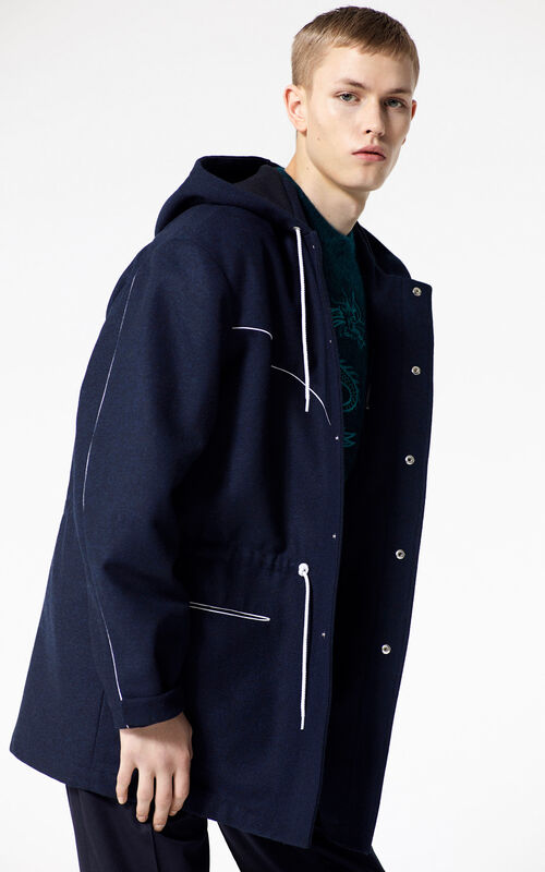 NAVY BLUE Hooded parka for men KENZO