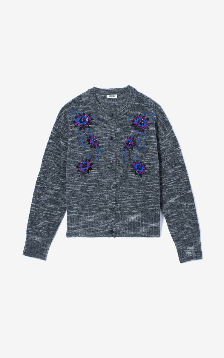 ANTHRACITE 'Passion Flower' cardigan for men KENZO