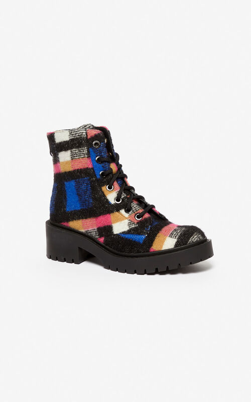 ELECTRIC BLUE Checked Pike Boots for unisex KENZO