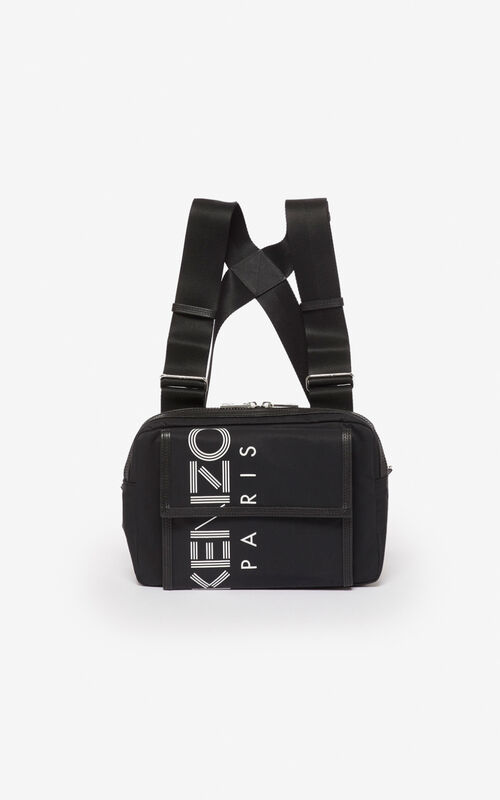 BLACK KENZO logo chest bag  for unisex