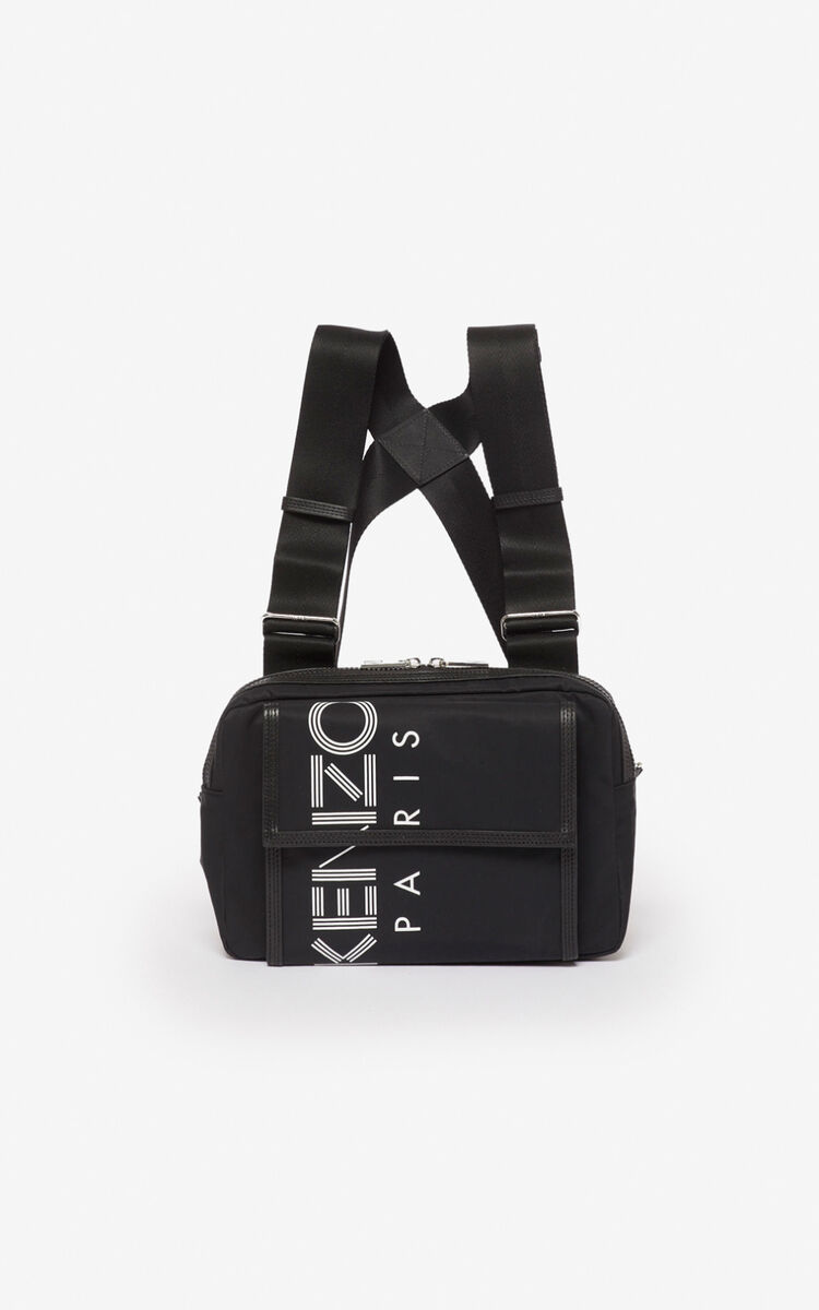 BLACK KENZO logo chest bag  for men