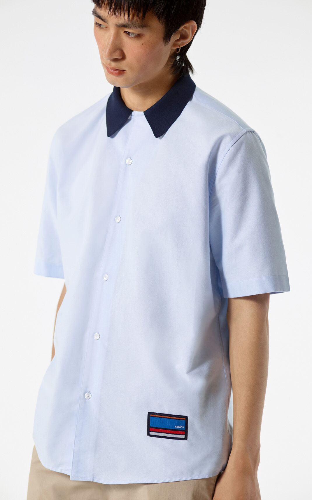 LIGHT BLUE 'Bowling Knit' shirt for women KENZO
