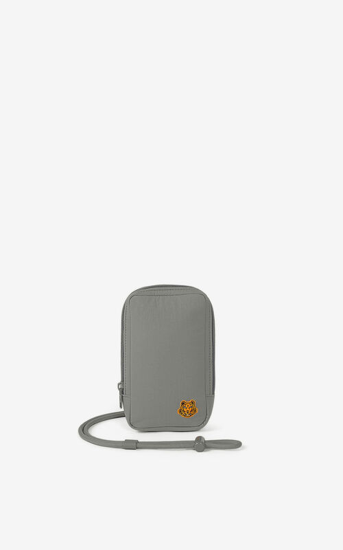 MISTY GREY Tiger Crest phone holder with strap for unisex KENZO