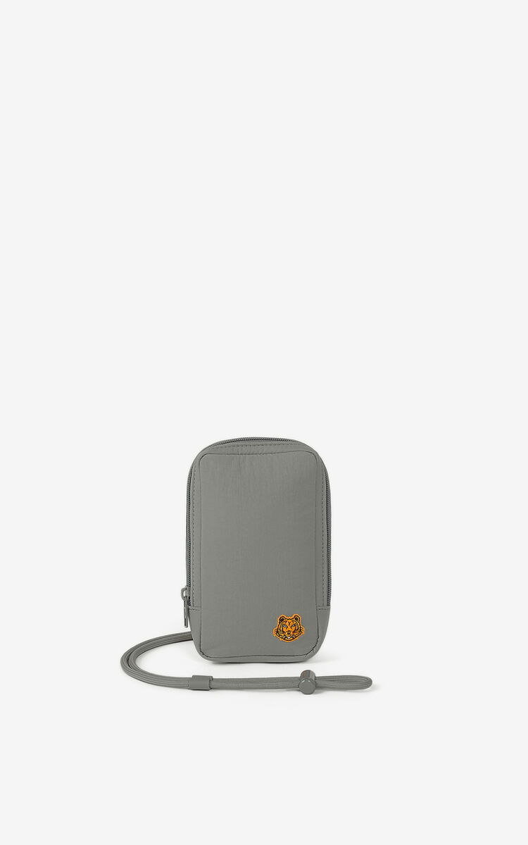 MISTY GREY Tiger Crest phone holder with strap for women KENZO