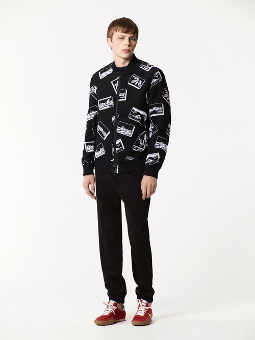 BLACK Postcards Bomber Jacket for men KENZO
