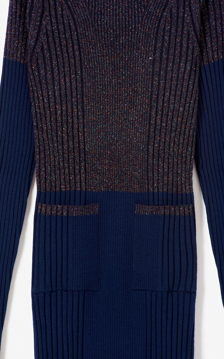 NAVY BLUE Long wool dress for women KENZO