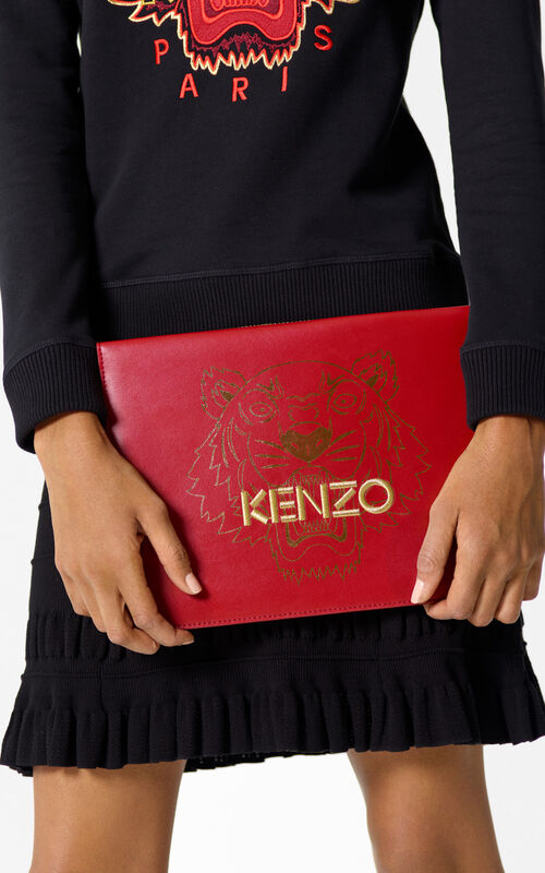 MEDIUM RED 'Chinese NY Capsule Collection' Leather A4 Clutch Bag for women KENZO