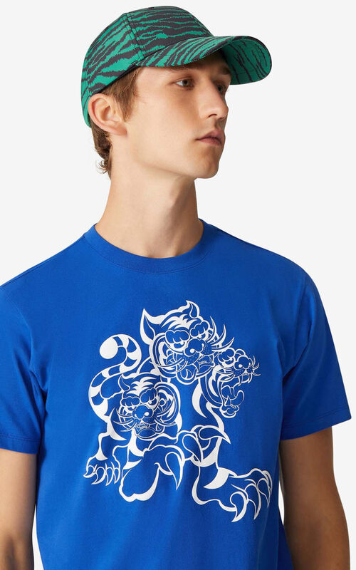 ROYAL BLUE KENZO x KANSAIYAMAMOTO 'Three Tigers' T-shirt for men