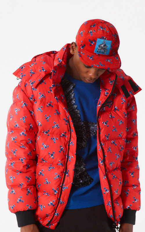 MEDIUM RED 'May Flowers' Down Jacket for women KENZO