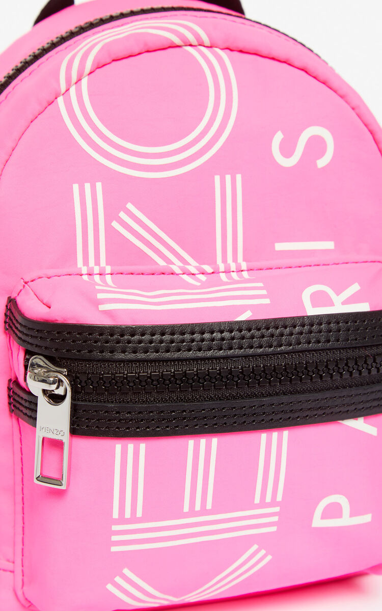 DEEP FUSCHIA KENZO Logo mini backpack for unisex