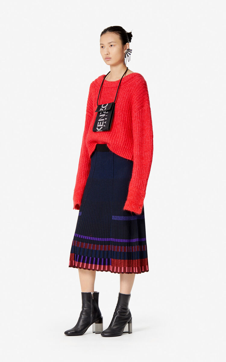 BLACK Rib knit midi skirt for women KENZO