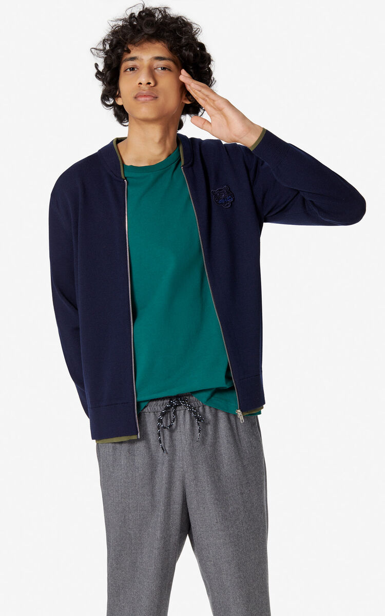 NAVY BLUE Tiger zipped cardigan for men KENZO