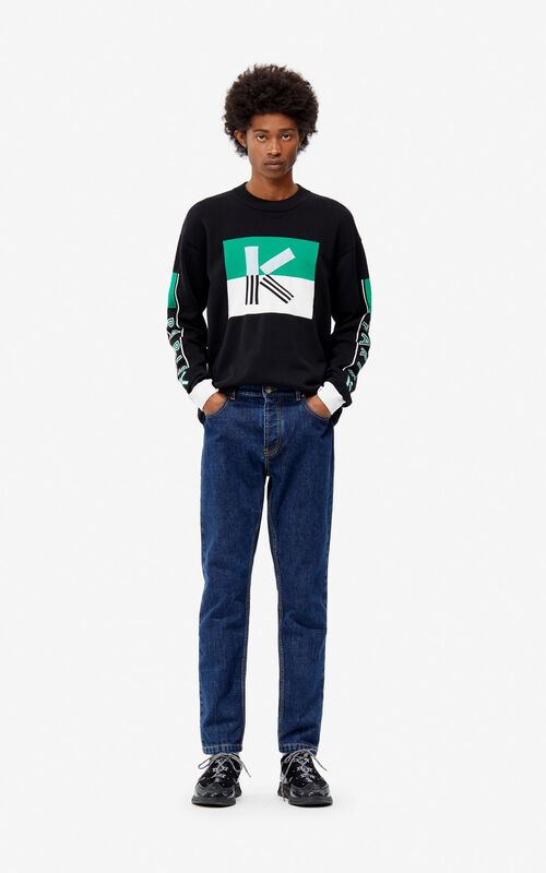 BLACK K colorblock jumper for men KENZO