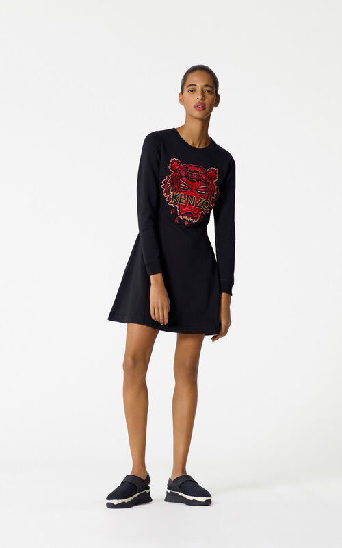 BLACK 'Chinese NY Capsule Collection' Tiger Sweatshirt Dress for women KENZO
