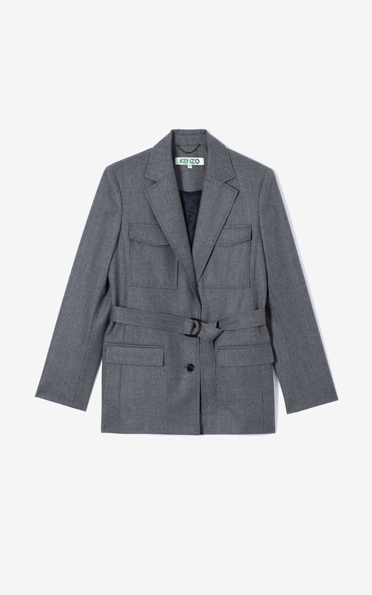 MIDDLE GREY Wool jacket for women KENZO