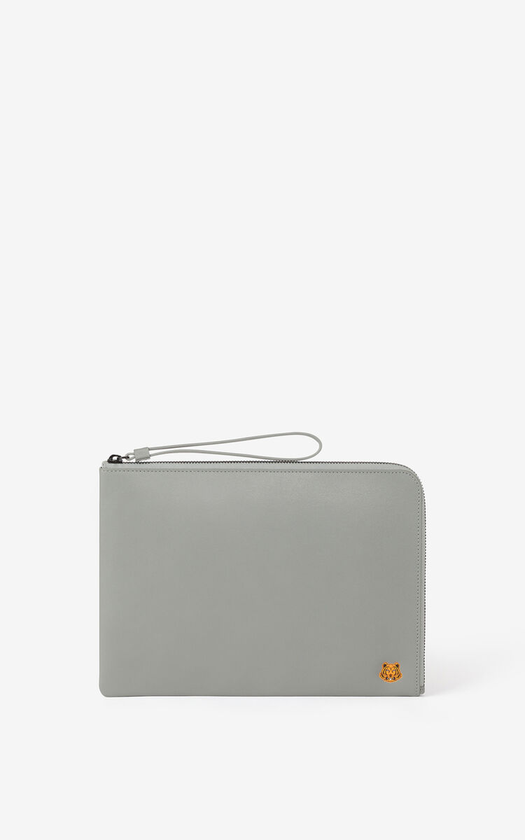 MISTY GREY Tiger Crest large leather clutch for women KENZO