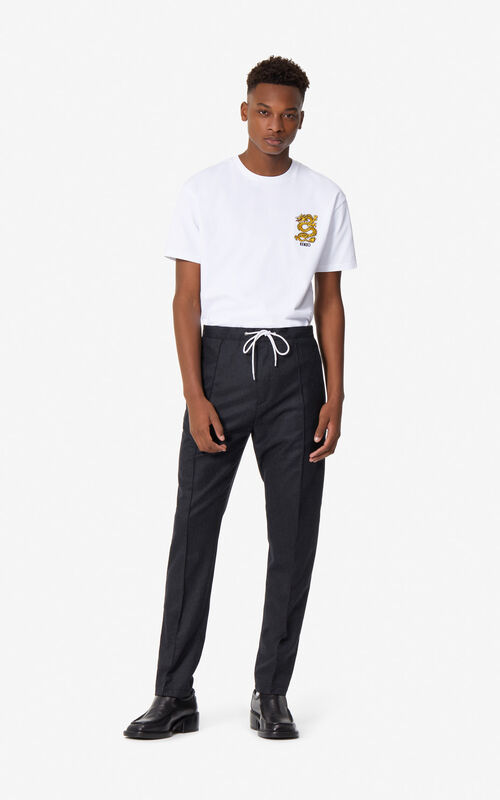 ANTHRACITE Flannel pleated trousers for men KENZO