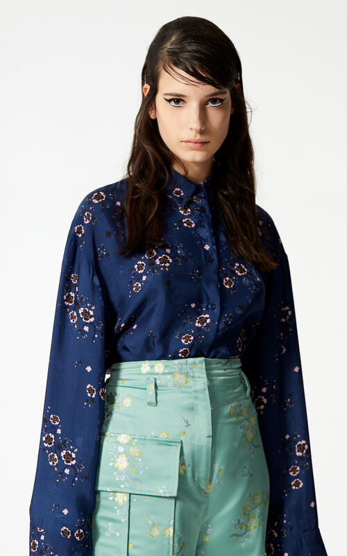 NAVY BLUE 'Cheongsam Flower' shirt for women KENZO