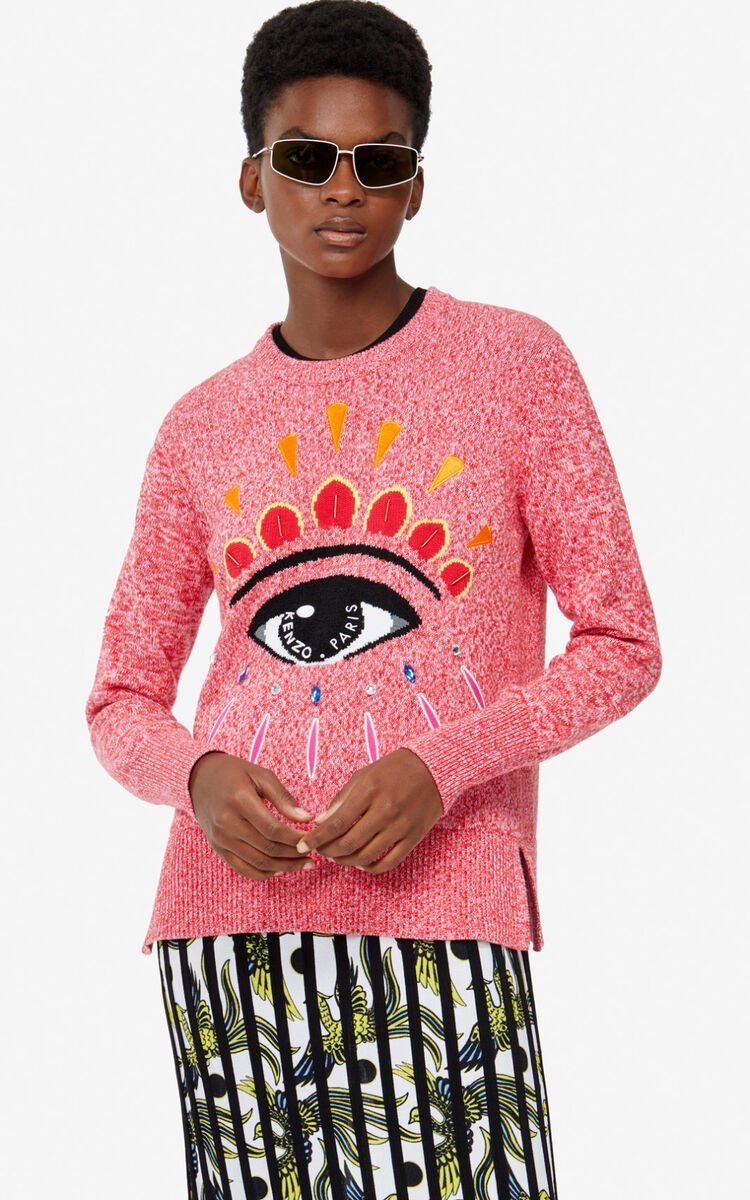 PASTEL PINK Embroidered Eye jumper for women KENZO