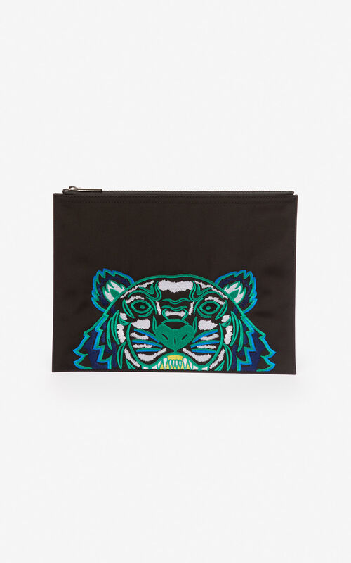 BLACK A4 Tiger Canvas clutch for women KENZO
