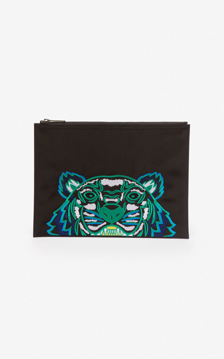 BLACK A4 Tiger Canvas clutch for men KENZO
