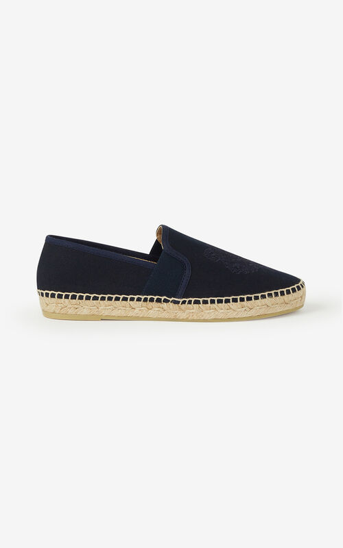 NAVY BLUE Elasticated canvas Tiger espadrilles for unisex KENZO